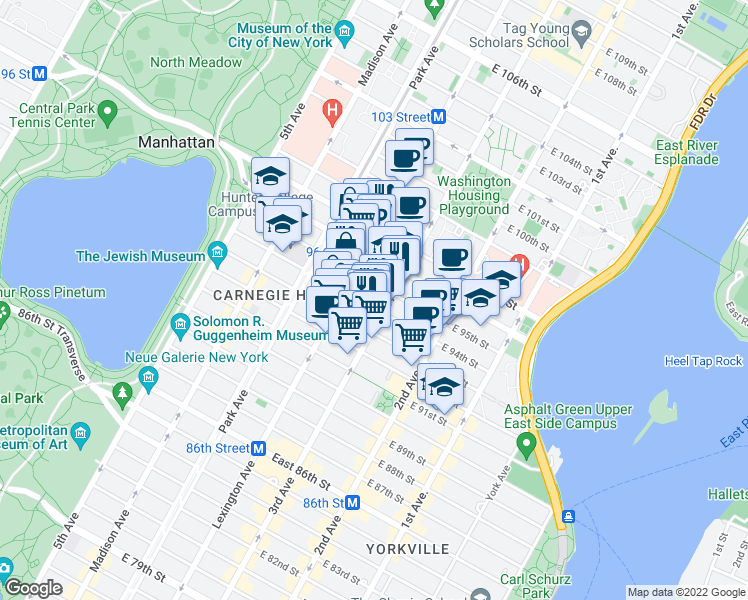 map of restaurants, bars, coffee shops, grocery stores, and more near 179 E 94th St in New York