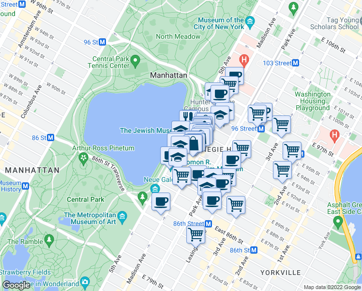 map of restaurants, bars, coffee shops, grocery stores, and more near 2 East 91st Street in New York