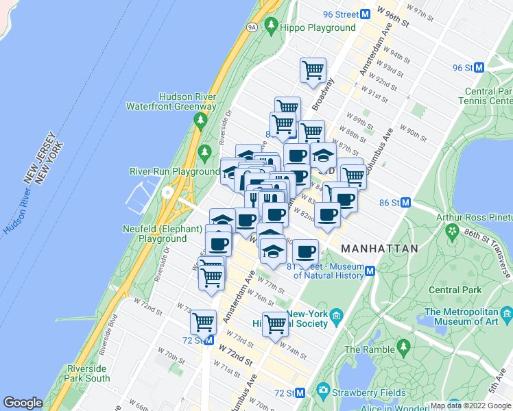 map of restaurants, bars, coffee shops, grocery stores, and more near 219 West 81st Street in New York