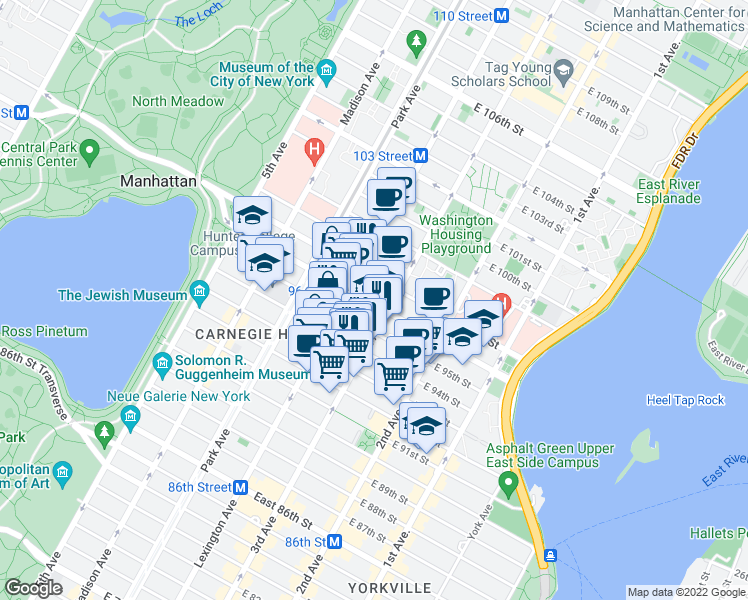map of restaurants, bars, coffee shops, grocery stores, and more near 201-215 East 96th Street in New York