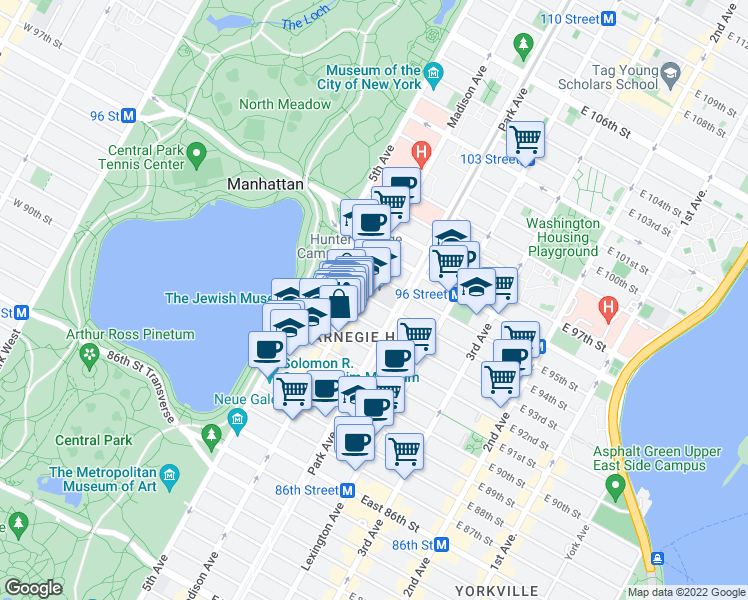 map of restaurants, bars, coffee shops, grocery stores, and more near 69 East 93rd Street in New York