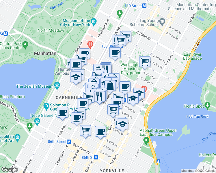 map of restaurants, bars, coffee shops, grocery stores, and more near 172 East 95th Street in New York