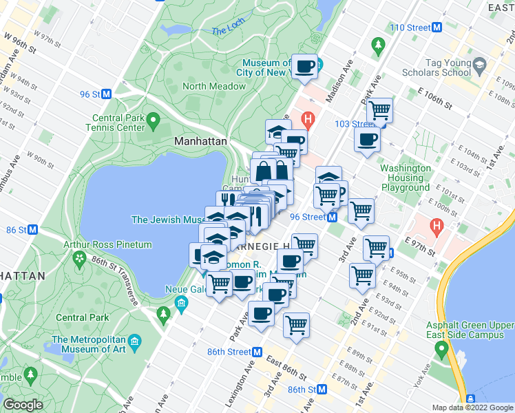 map of restaurants, bars, coffee shops, grocery stores, and more near 3 East 94th Street in New York