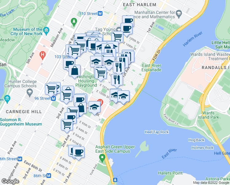 map of restaurants, bars, coffee shops, grocery stores, and more near 9983-34599 East 101st Street in New York