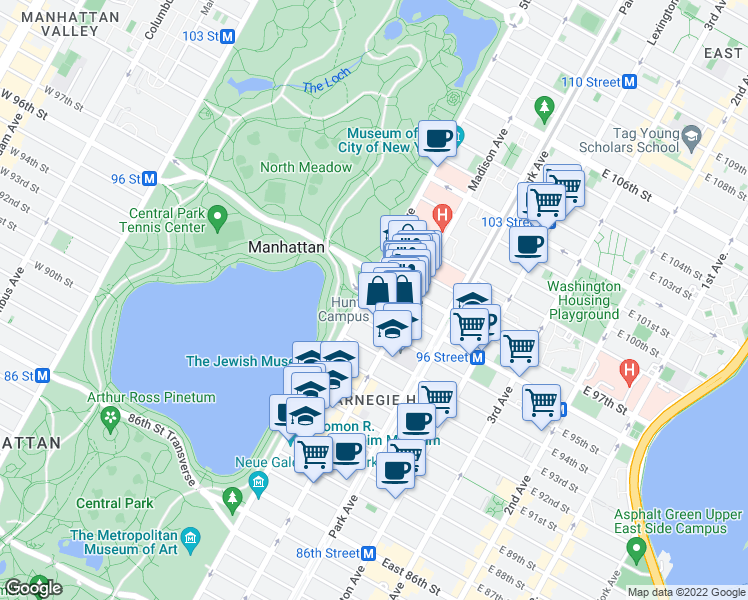 map of restaurants, bars, coffee shops, grocery stores, and more near 97th Street Transverse in New York