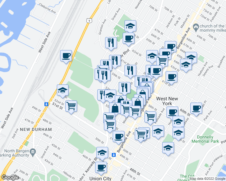 map of restaurants, bars, coffee shops, grocery stores, and more near 5710 Washington St in West New York