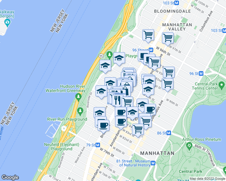 map of restaurants, bars, coffee shops, grocery stores, and more near 257 West 86th Street in New York