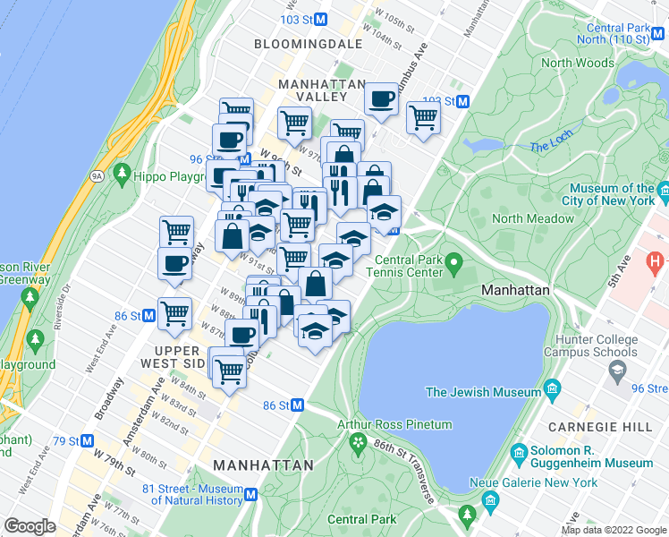 map of restaurants, bars, coffee shops, grocery stores, and more near 320 Central Park West in New York