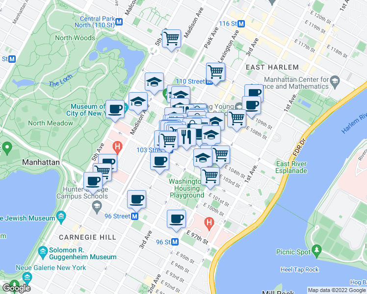 map of restaurants, bars, coffee shops, grocery stores, and more near 162 East 104th Street in New York