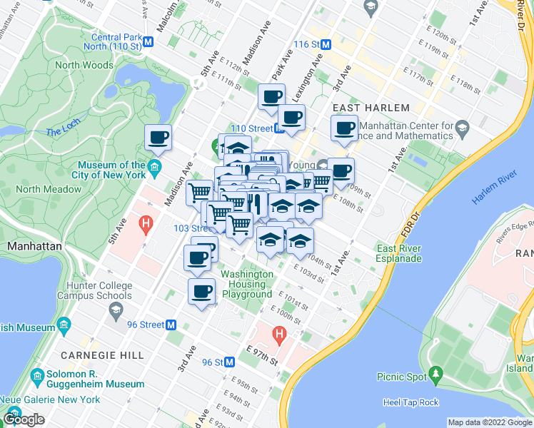 map of restaurants, bars, coffee shops, grocery stores, and more near East 105th Street in New York