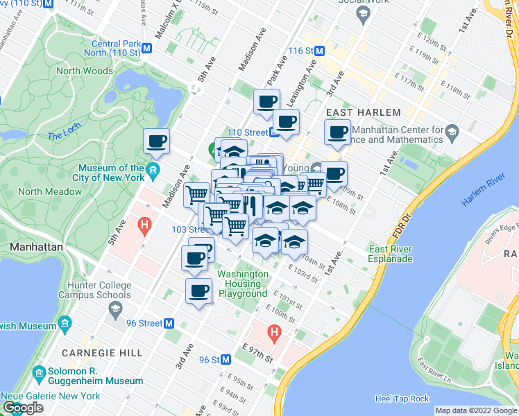 map of restaurants, bars, coffee shops, grocery stores, and more near 1908 3rd Avenue in New York