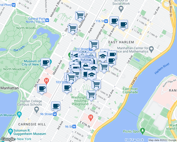 map of restaurants, bars, coffee shops, grocery stores, and more near 1712 Lexington Avenue in New York