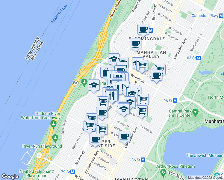 map of restaurants, bars, coffee shops, grocery stores, and more near 214 West 92nd Street in New York