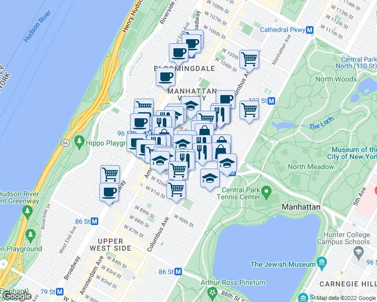 map of restaurants, bars, coffee shops, grocery stores, and more near 730 Columbus Avenue in New York