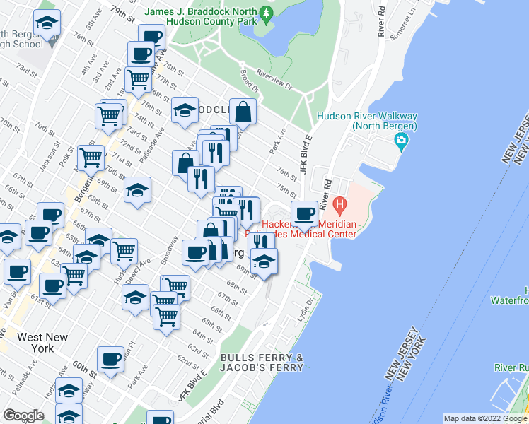 map of restaurants, bars, coffee shops, grocery stores, and more near 2-28 73rd Street in North Bergen