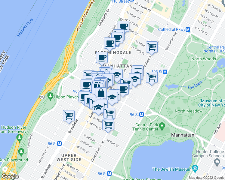 map of restaurants, bars, coffee shops, grocery stores, and more near 160 West 97th Street in New York