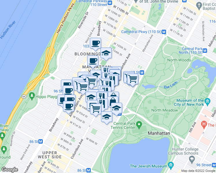 map of restaurants, bars, coffee shops, grocery stores, and more near 808 Columbus Avenue in New York