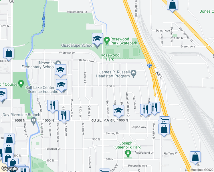 map of restaurants, bars, coffee shops, grocery stores, and more near West 1200 North in Salt Lake City
