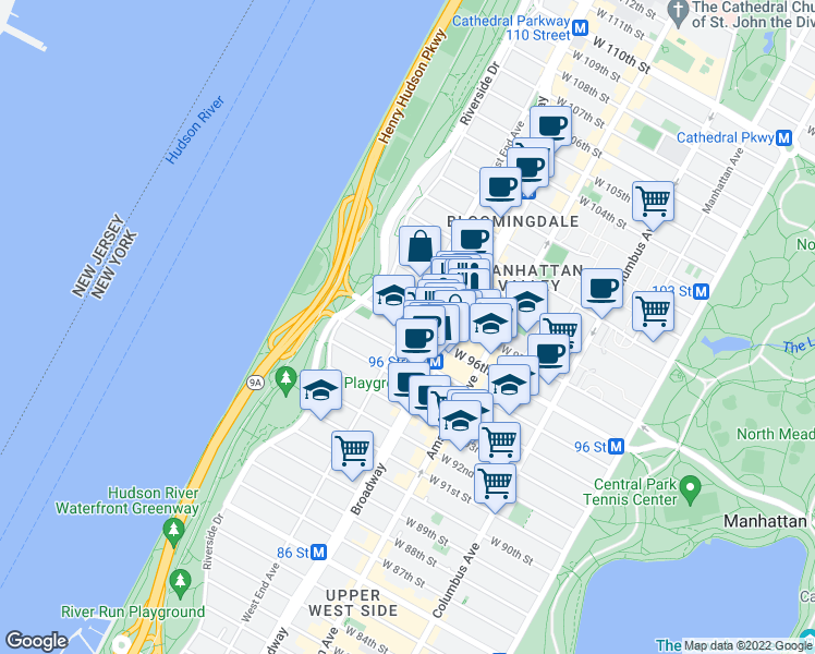 map of restaurants, bars, coffee shops, grocery stores, and more near 275 West 96th Street in New York