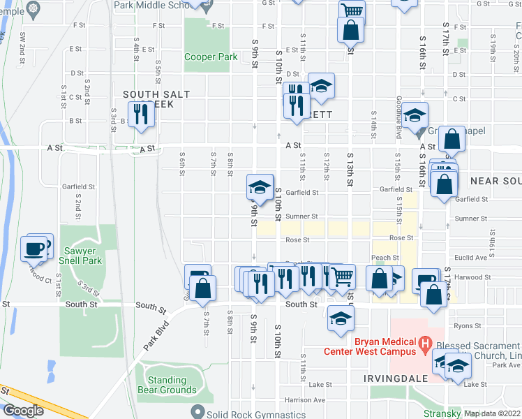 map of restaurants, bars, coffee shops, grocery stores, and more near 927 Sumner St in Lincoln