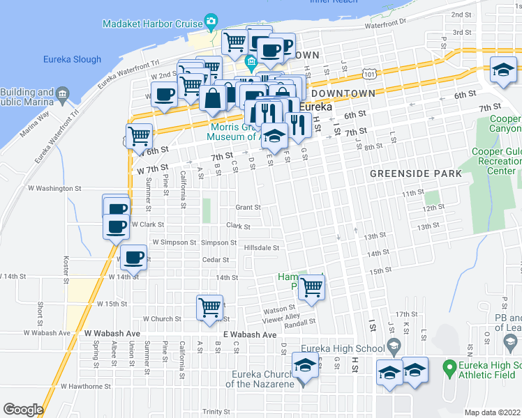map of restaurants, bars, coffee shops, grocery stores, and more near 1004 D St in Eureka