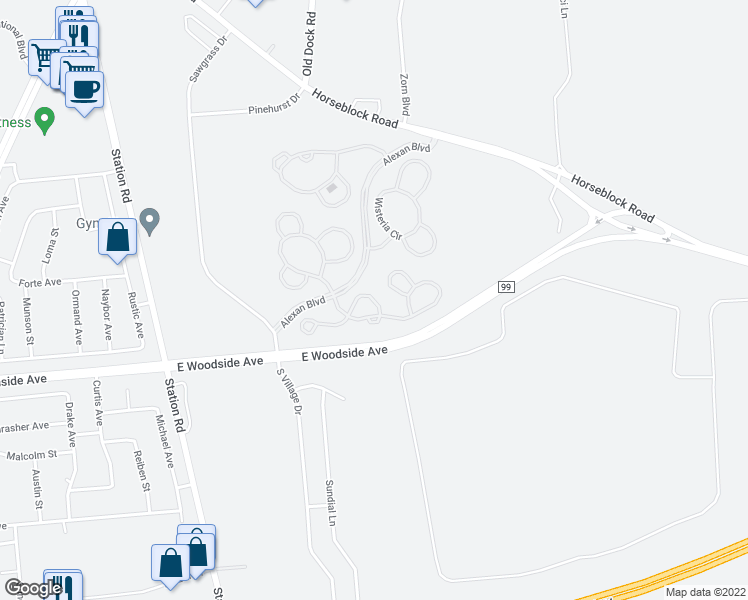 map of restaurants, bars, coffee shops, grocery stores, and more near Orchid Cir in Bellport