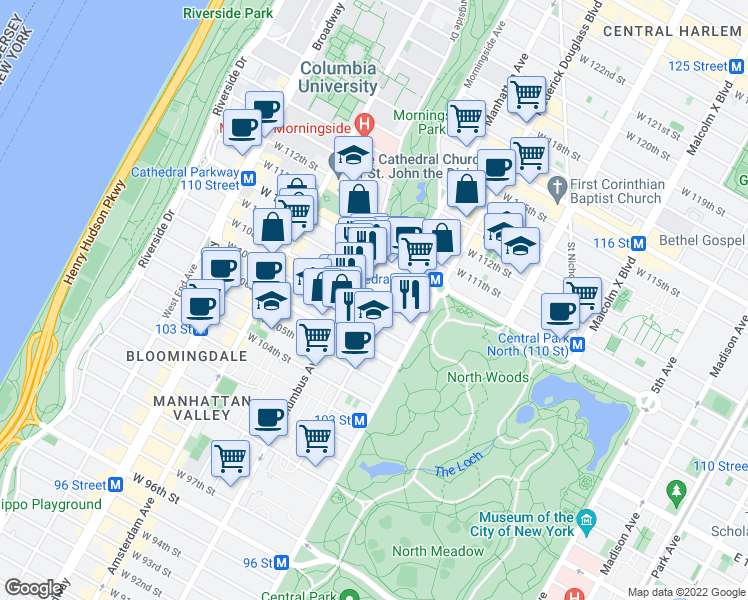 map of restaurants, bars, coffee shops, grocery stores, and more near West 108th Street in New York