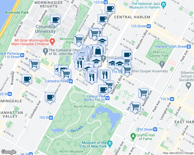 map of restaurants, bars, coffee shops, grocery stores, and more near 200 West 113th Street in New York