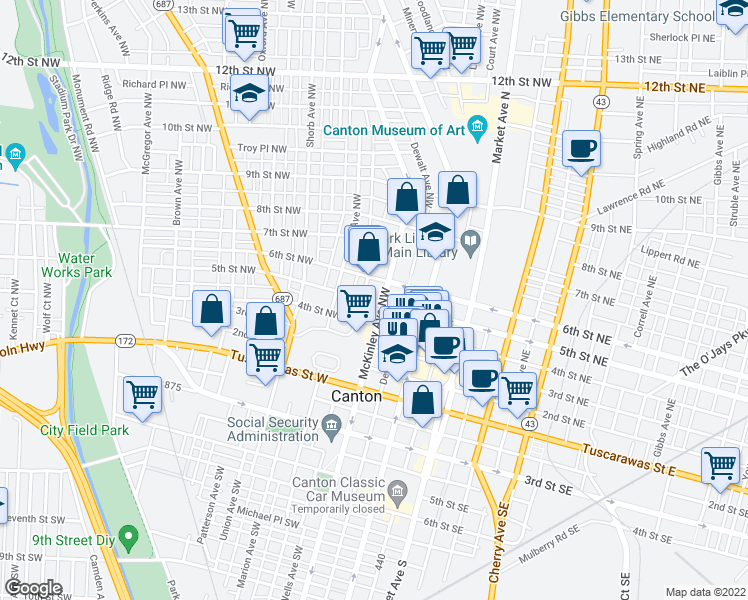 map of restaurants, bars, coffee shops, grocery stores, and more near 429 Wells Ave NW in Canton