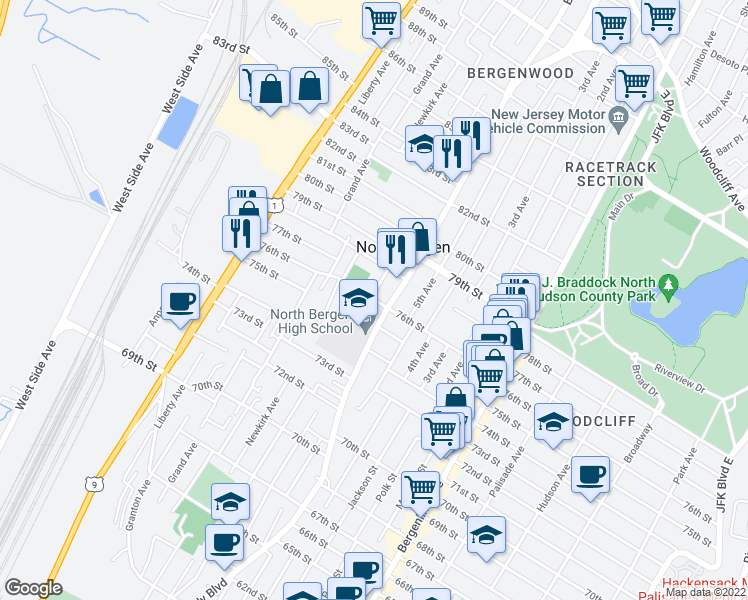 map of restaurants, bars, coffee shops, grocery stores, and more near 7612 Smith Ave in North Bergen