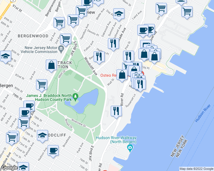 map of restaurants, bars, coffee shops, grocery stores, and more near 37-63 Woodcliff Avenue in North Bergen