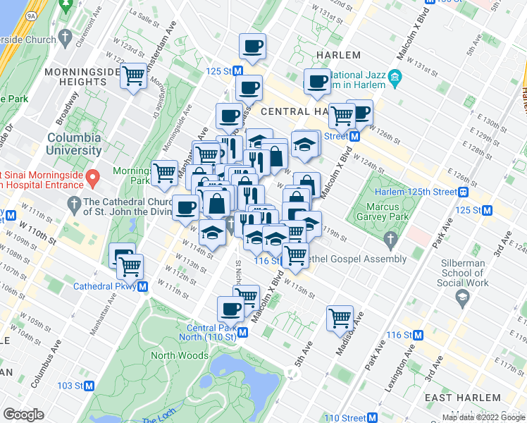 map of restaurants, bars, coffee shops, grocery stores, and more near 150-198 West 117th Street in New York