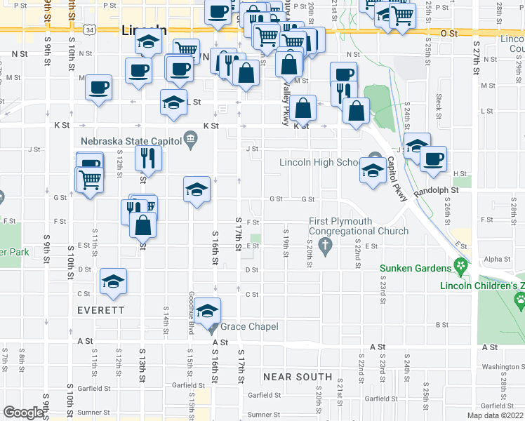 map of restaurants, bars, coffee shops, grocery stores, and more near S 18th St in Lincoln