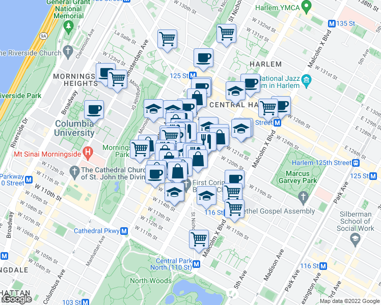 map of restaurants, bars, coffee shops, grocery stores, and more near 267-271 W 119th St in New York