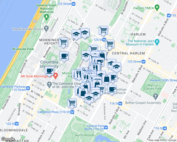 map of restaurants, bars, coffee shops, grocery stores, and more near 400 Manhattan Ave in New York