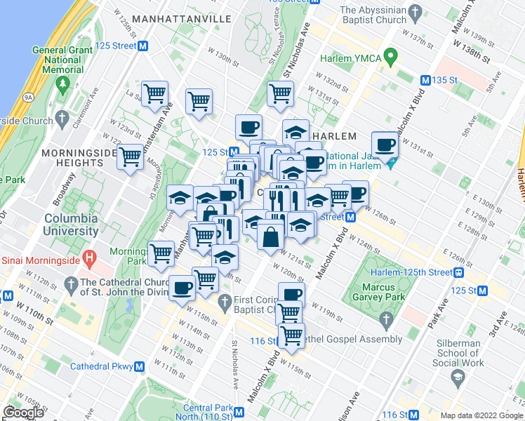map of restaurants, bars, coffee shops, grocery stores, and more near 236 West 123rd Street in New York
