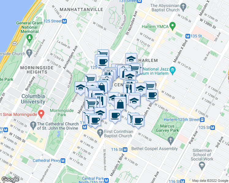 map of restaurants, bars, coffee shops, grocery stores, and more near 234 West 122nd Street in New York