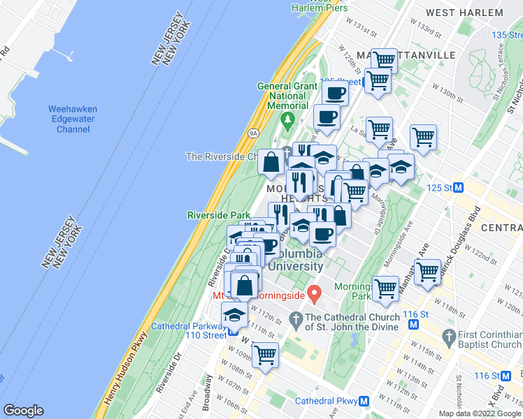 map of restaurants, bars, coffee shops, grocery stores, and more near 460 Riverside Dr in New York