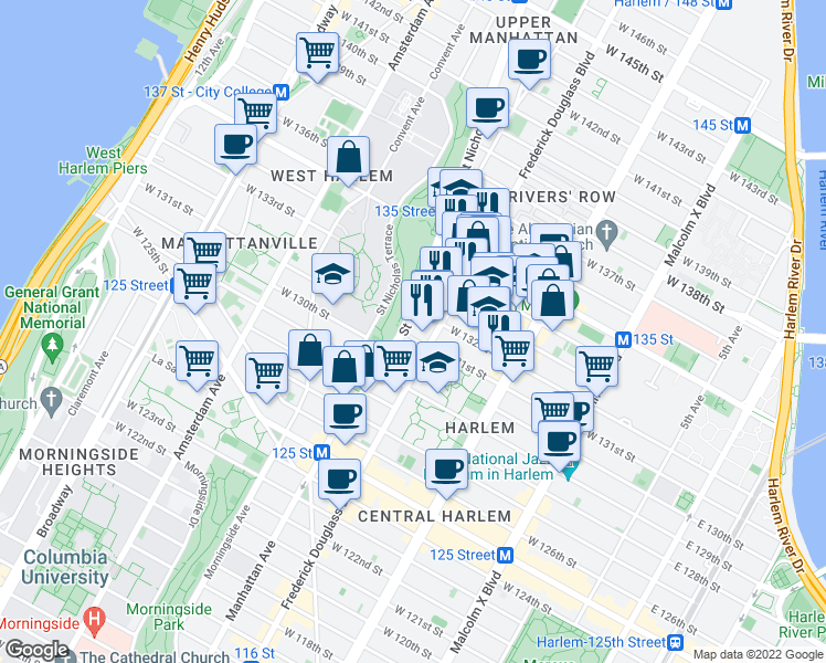 map of restaurants, bars, coffee shops, grocery stores, and more near 2470 Frederick Douglass Boulevard in New York
