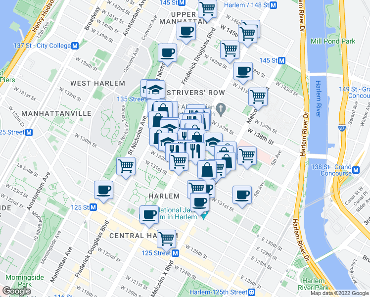 map of restaurants, bars, coffee shops, grocery stores, and more near 220 West 135th Street in New York