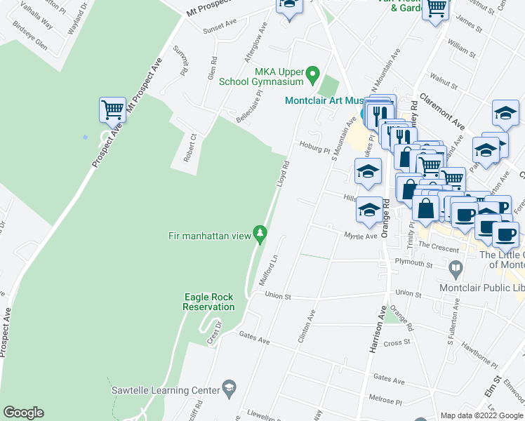 map of restaurants, bars, coffee shops, grocery stores, and more near 120 Lloyd Road in Montclair