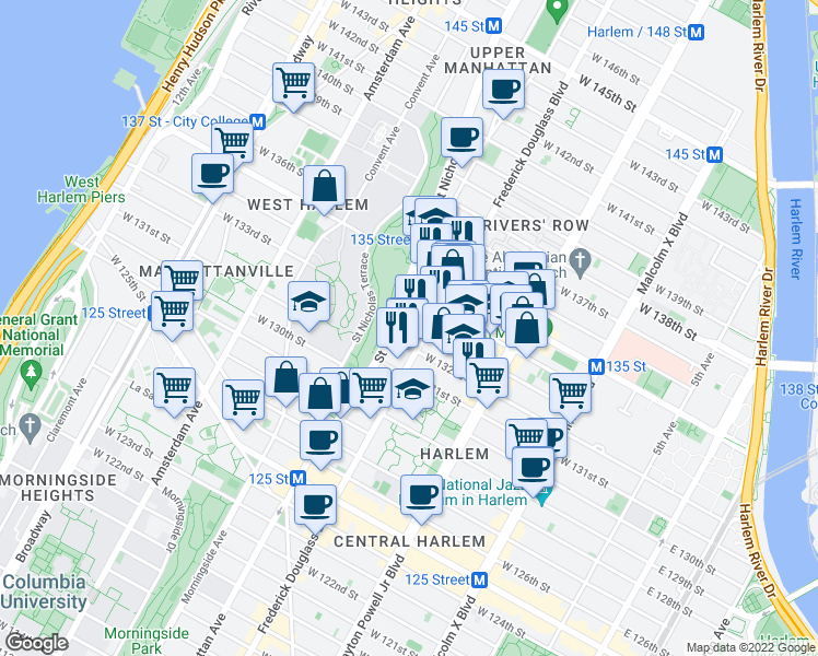 map of restaurants, bars, coffee shops, grocery stores, and more near 446 Saint Nicholas Avenue in New York