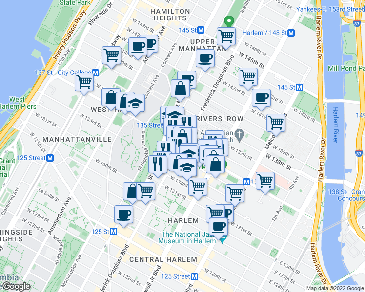 map of restaurants, bars, coffee shops, grocery stores, and more near 252 West 135th Street in New York