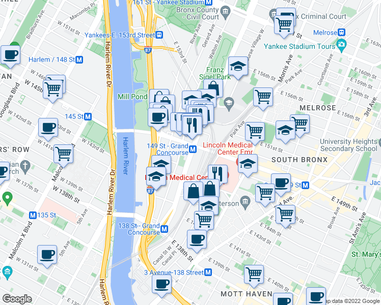 map of restaurants, bars, coffee shops, grocery stores, and more near 475 Grand Concourse in Bronx