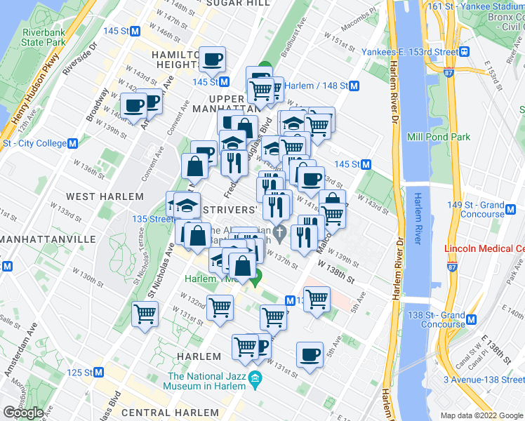 map of restaurants, bars, coffee shops, grocery stores, and more near 2374 7th Avenue in New York
