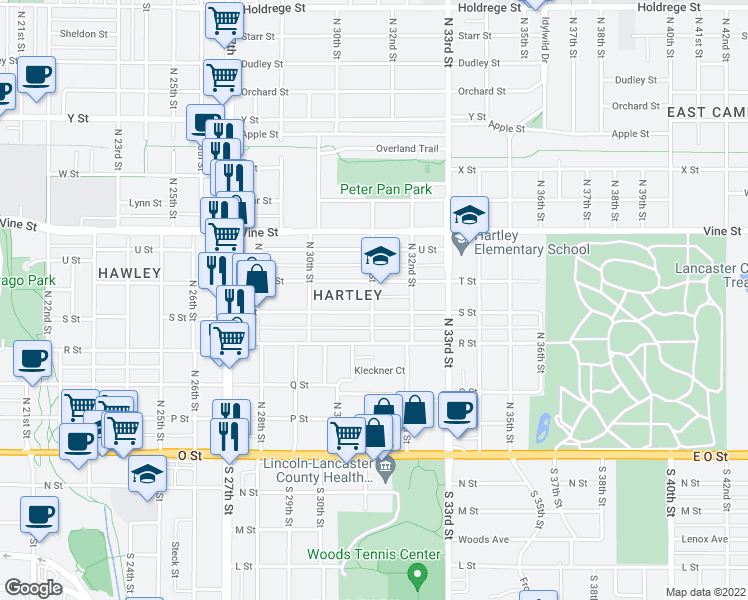 map of restaurants, bars, coffee shops, grocery stores, and more near 3097 S Street in Lincoln