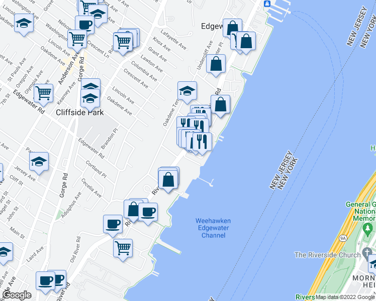 map of restaurants, bars, coffee shops, grocery stores, and more near 692 River Road in Edgewater