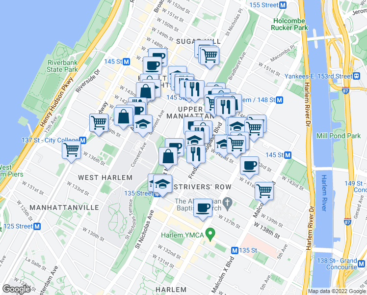 map of restaurants, bars, coffee shops, grocery stores, and more near 330 West 141st Street in New York