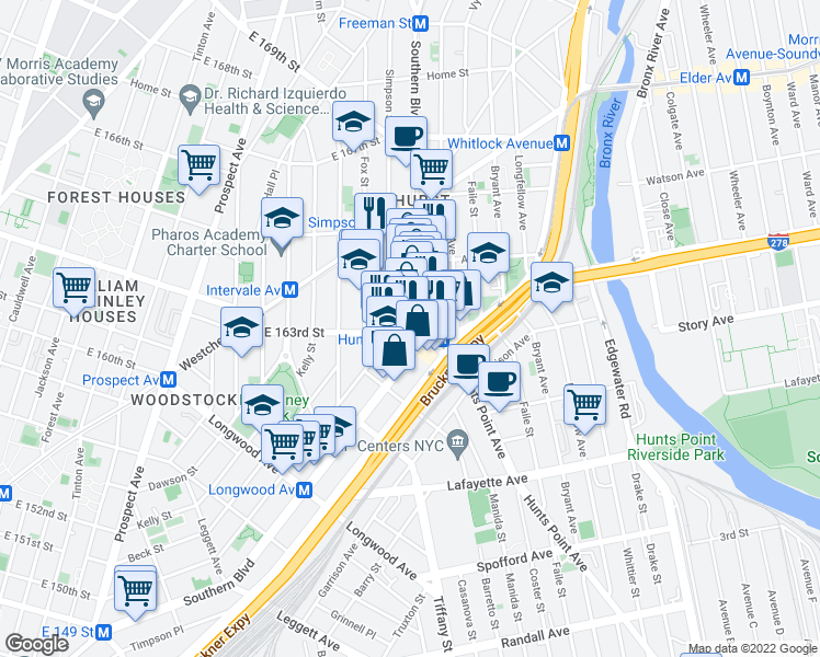 map of restaurants, bars, coffee shops, grocery stores, and more near 1029 E 163rd St in Bronx
