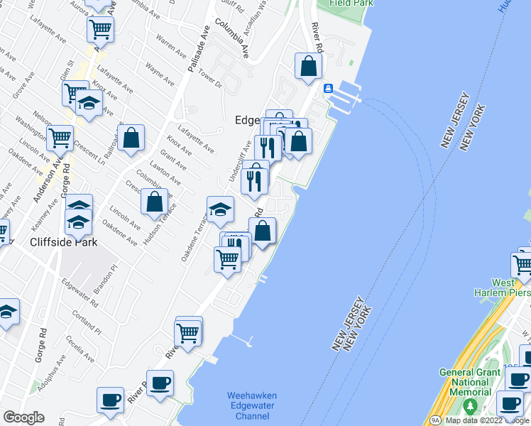 map of restaurants, bars, coffee shops, grocery stores, and more near in Edgewater
